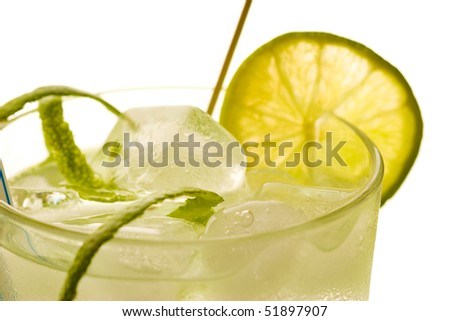 drink series: cold drink with ice and lime