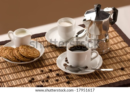 drink series: cup of coffee, hot espresso, milk and shortcake