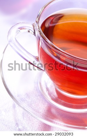 drink series: glasy cup of tea, top view