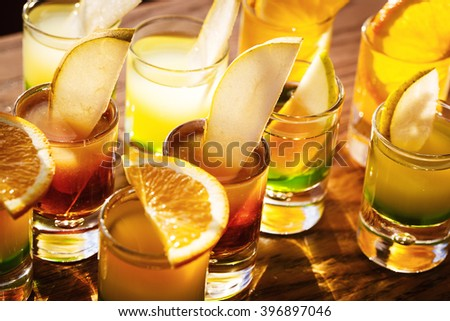 Drink shots with fruits - stock photo