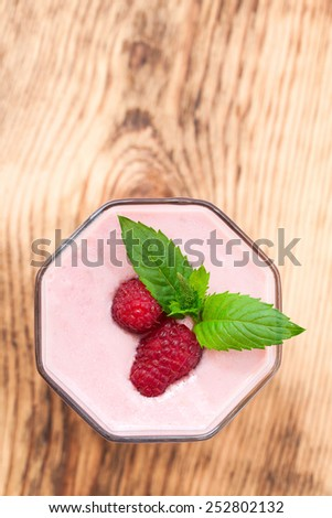 Drink smoothies summer strawberry, blackberry, raspberry on wooden table. Selective focus,  top view. - stock photo