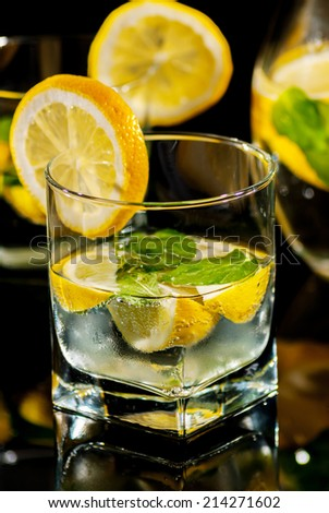 Drink water with lemon and mint on reflect background
