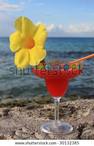 drink with flower on the seawall - stock photo