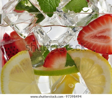Drink With fruits And Ice , Close Up - stock photo