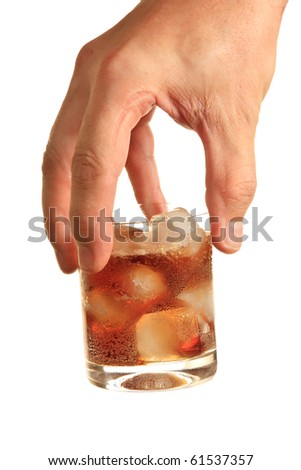 drink with ice in his hand  isolated  on a white background