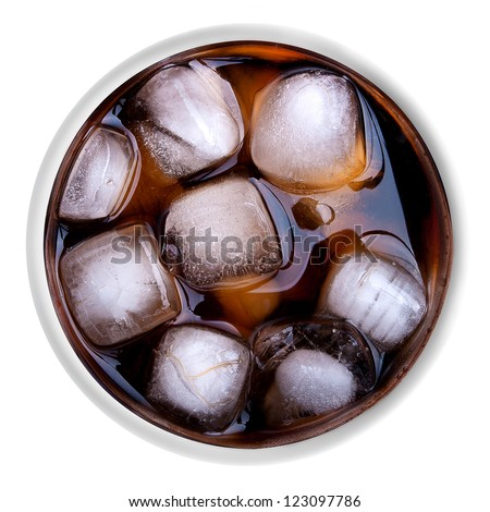 Drink with ice isolated on the white background - stock photo