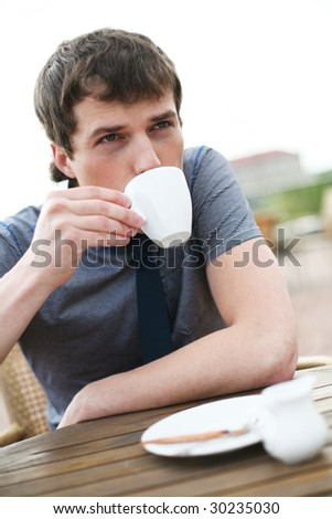 Drinking coffee. - stock photo