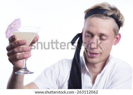 drinking drunk man on white background - stock photo