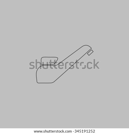 Drinking faucet. Flat outline icon on grey background - stock photo