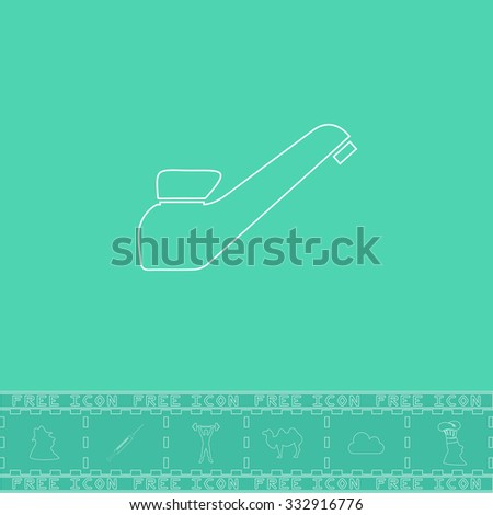 Drinking faucet. White outline flat icon and bonus symbol. Simple illustration pictogram on green background - stock photo