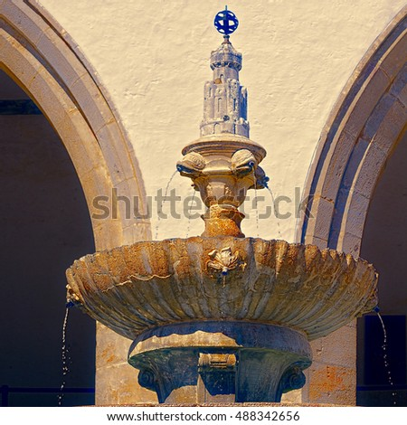 Drinking Fountain in Portugal City of Sintra, Stylized Photo