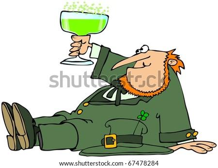 Drinking Leprechaun - stock photo