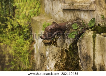 Drinking old fountain in wall