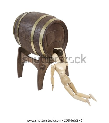 Drinking Straight from a Wooden barrel with metal bands on stand for convenience - path included - stock photo