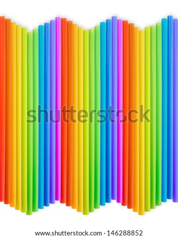 Drinking straw colorful plastic tubes over white as abstract background