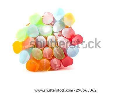 Drinking straw set of colorful plastic tubes on white background
