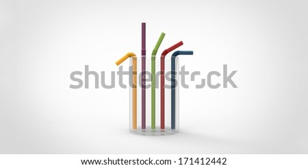 Drinking straws isolated on gray background - stock photo