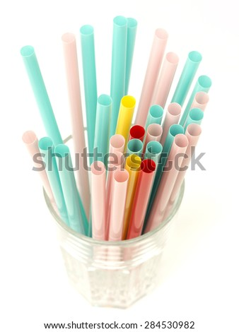 drinking straws on a white background - stock photo