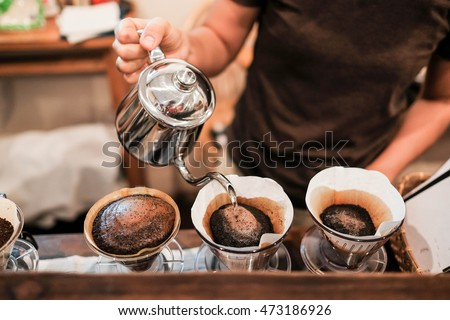 Drip brewing, filtered coffee, or pour-over is a method which involves pouring water over roasted, ground coffee beans contained in a filter.