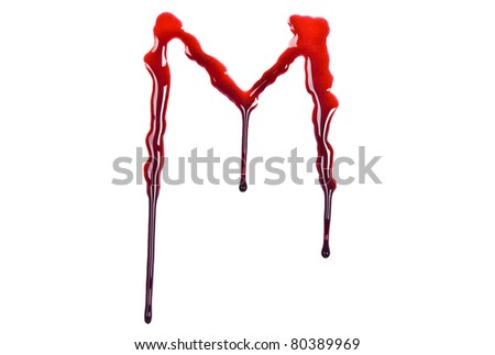 Dripping blood fonts the letter M - stock photo
