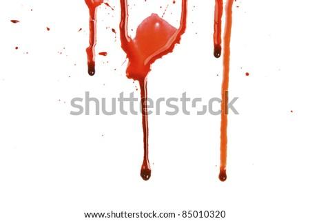 Dripping blood splatters - stock photo