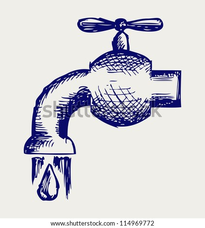 Dripping tap with drop. Doodle style. Raster version - stock photo