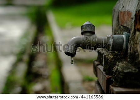 Dripping water tap or faucet