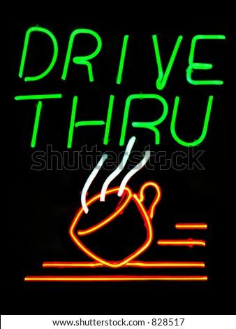 Drive Thru Coffee Shop neon sign - stock photo