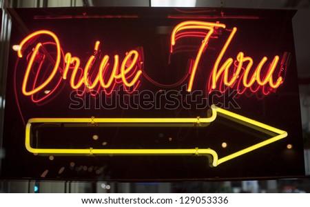 drive thru neon sign - stock photo