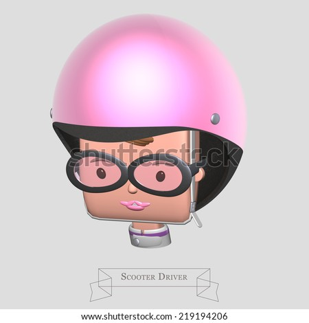 Driver cap scooter, young woman's head wearing a pink helmet and glasses - stock photo