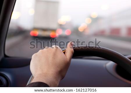 driver's eye - stock photo