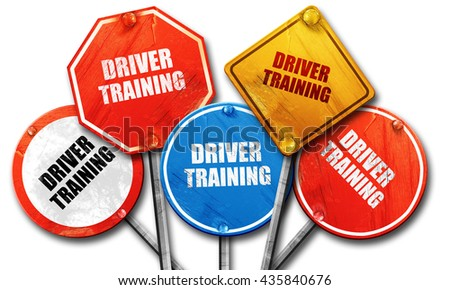 driver training, 3D rendering, rough street sign collection - stock photo