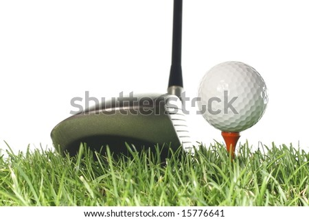 Driver with golf ball on a tee and grass with a white background. - stock photo