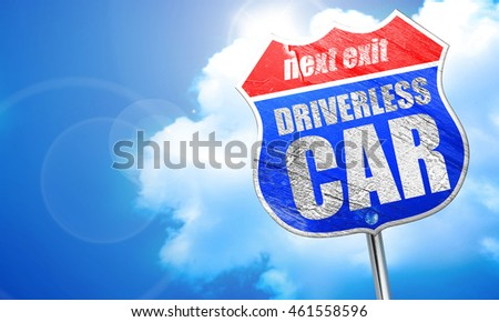 driverless car, 3D rendering, blue street sign