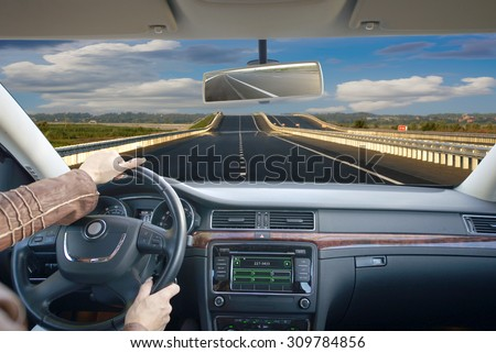Driving by car schosse. Business trip. - stock photo