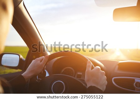 driving car on the empty road, travel background - stock photo