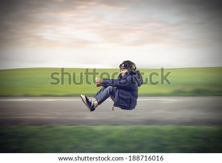 driving kid - stock photo