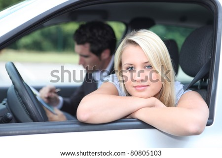 Driving lesson - stock photo