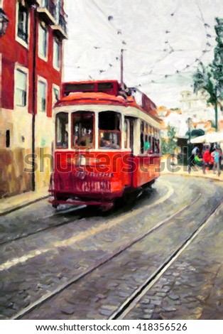 Driving red tramway on the summer city street.Painting.Canvas
