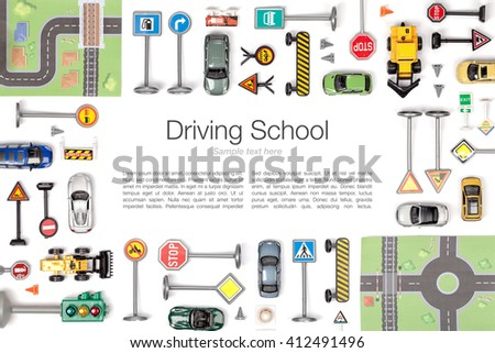 driving school concept. road signs and cars on white background. flat lay frame composition with copy space top view - stock photo