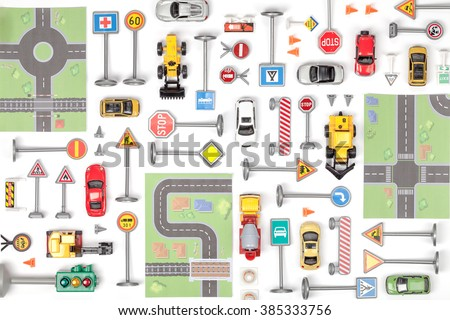 driving school concept. road signs and cars on white background top view - stock photo