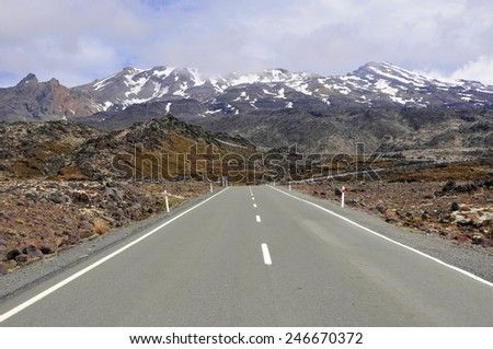 Driving towards Mount Ruapehu, North Island, New Zealand - stock photo