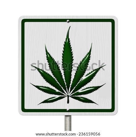 Driving Under the Influence of  Marijuana, A road highway sign with a marijuana leaf isolated on white - stock photo