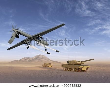Drone attack battle tanks - stock photo
