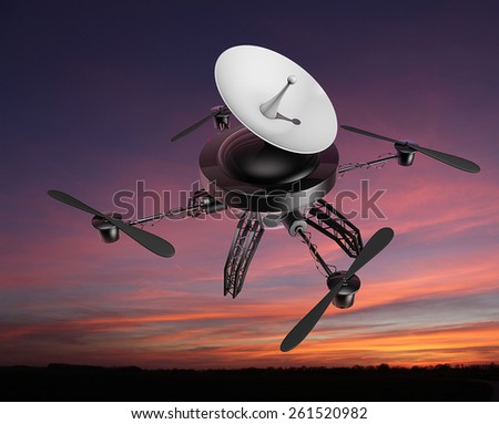 Drone copter in the evening - with a satellite dish on top - stock photo