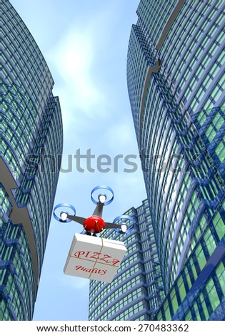 Drone delivers pizza boxes in the city. - stock photo