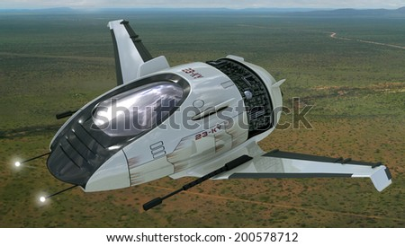 Drone design of alien spacecraft for futuristic military war games, flying at high altitude over a generic field landscape. - stock photo
