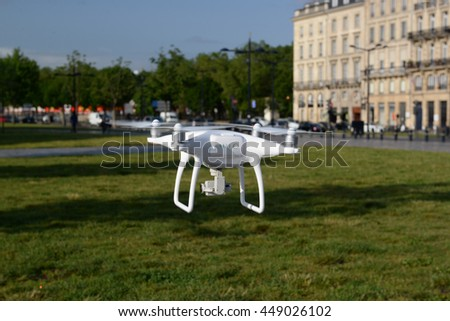 Drone Flies over park in Bordeaux France