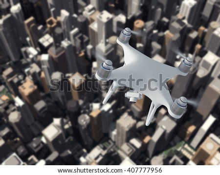 Drone fly the city 3d illustration