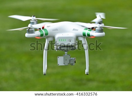 Drone in the air outdoors